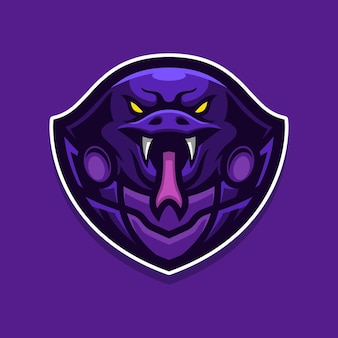 Szablon logo gry maskotka cobra e-sport