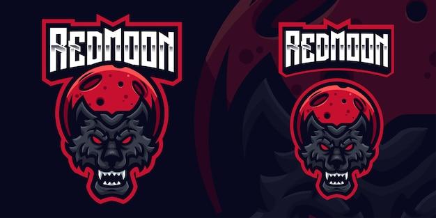 Szablon logo gry maskotka wilk czerwony księżyc dla streamera esports facebook youtube