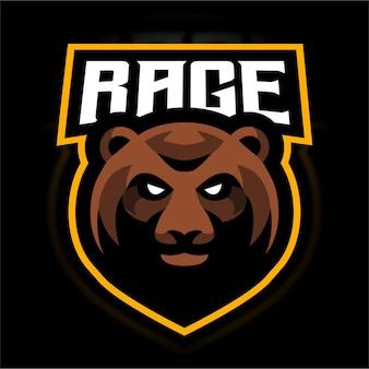 Szablon logo gry rage bear e sport