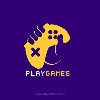 Szablon logo gry wideo z joystickiem