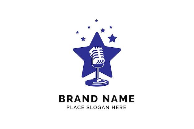 Szablon logo gwiazdy piosenkarza sylwetka mikrofonu wewnątrz gwiazdy