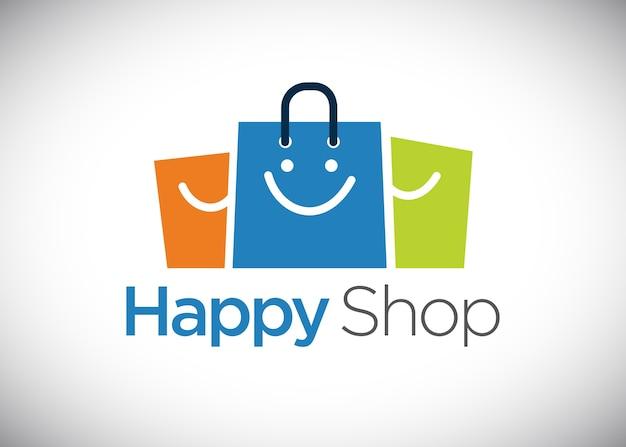 Szablon Logo Happy Shop Premium Wektorów