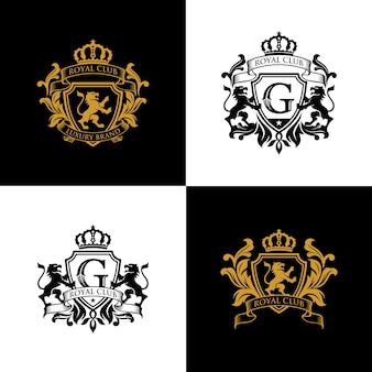 Szablon logo herbu royal brand luxury