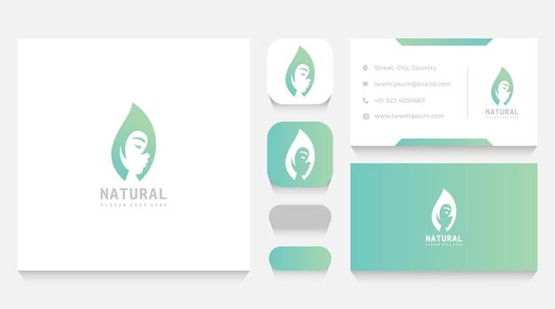 Szablon logo i wizytówka naturalnego liścia i kobiecej urody