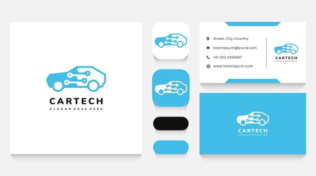 Szablon logo i wizytówka technologii samochodowej i elektroniki