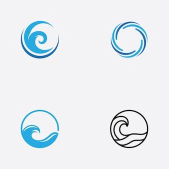 Szablon logo ikona fala wody