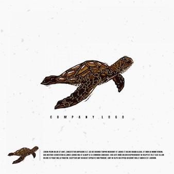 Szablon logo ilustracja żółw morski