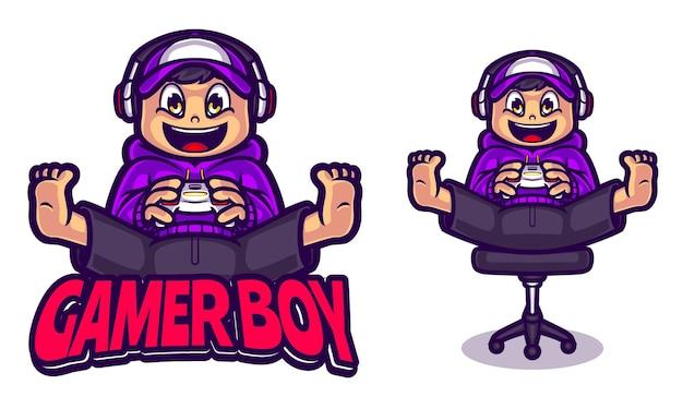Szablon logo ilustracji gamer boy