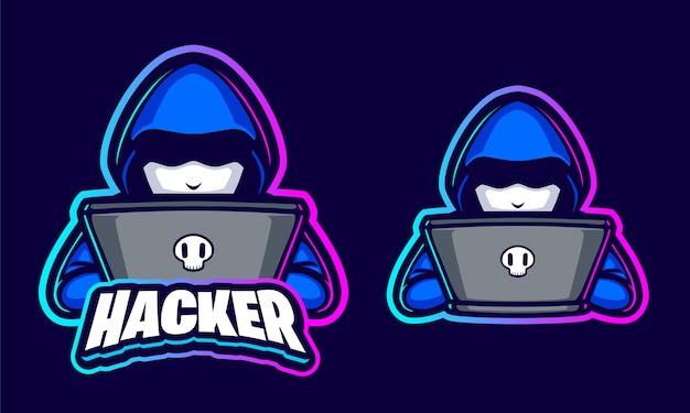 Szablon logo ilustracji hakerów