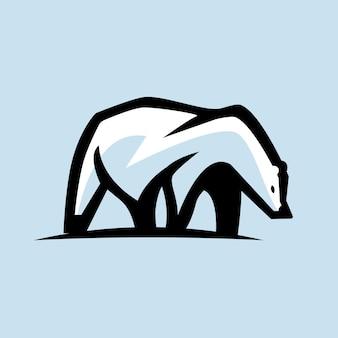 Szablon logo ilustracji niedźwiedzia polarnego