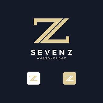 Szablon logo inicjałów z i numer 7 w złotym stylu dla firmy