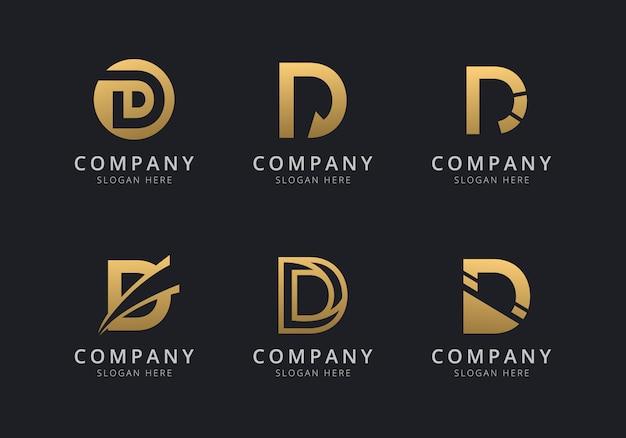 Szablon logo inicjały d w złotym kolorze dla firmy
