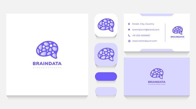 Szablon logo inteligentnego mózgu i danych oraz wizytówka