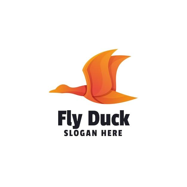 Szablon logo kaczka zwierząt gradientu