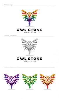 Szablon logo kamień sowa