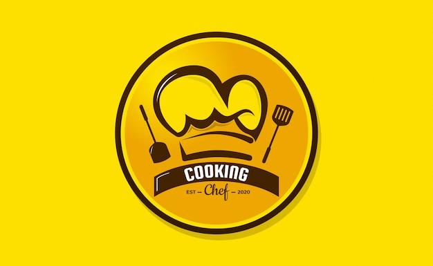 Szablon logo kapelusz szefa kuchni. logo restauracji design inspiration. logo piekarni