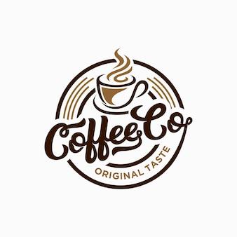 Szablon logo kawiarni. godło retro kawy.
