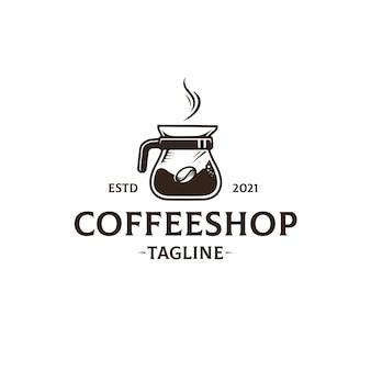 Szablon logo kawiarni na białym tle