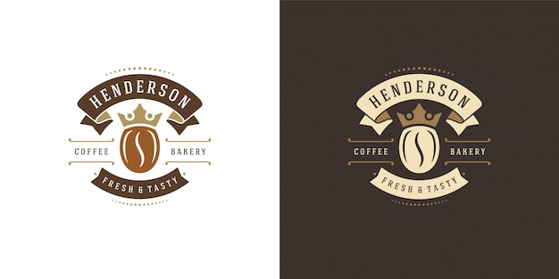 Szablon logo kawiarni z sylwetką fasoli dobrym na odznakę kawiarni