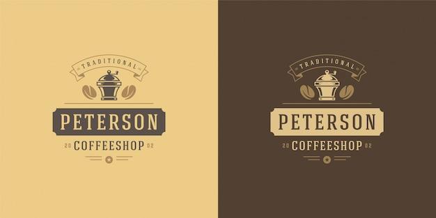 Szablon logo kawiarni z sylwetką szlifierki dobry do projektowania odznak kawiarni i dekoracji menu