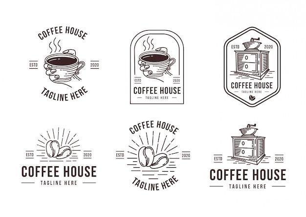 Szablon logo kawy lineart ustawić szablon