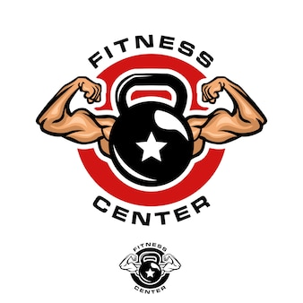 Szablon logo kettlebell fitness