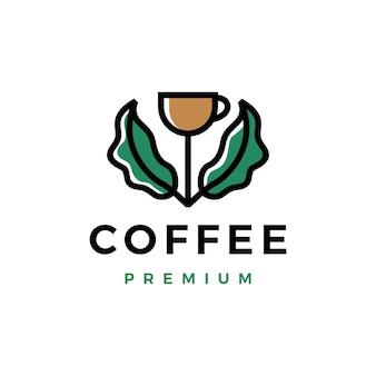 Szablon logo kiełków liścia filiżanki kawy