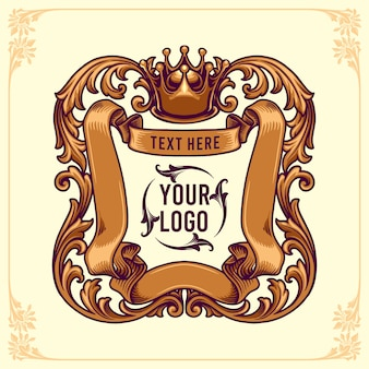 Szablon logo king badges ozdoby w kwiatowe ramki