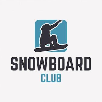 Szablon logo klubu snowboardowego z sylwetką snowboardzisty