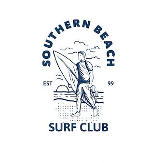 Szablon logo klubu surfowania południowej plaży