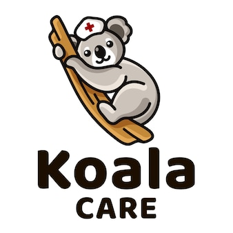 Szablon logo koala care cute kids