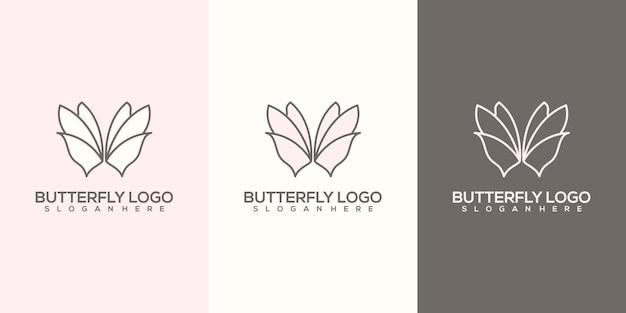 Szablon logo kobiecy streszczenie motyl