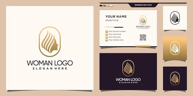 Szablon logo kobiety z kreatywną nowoczesną koncepcją i projektem wizytówek premium wektor