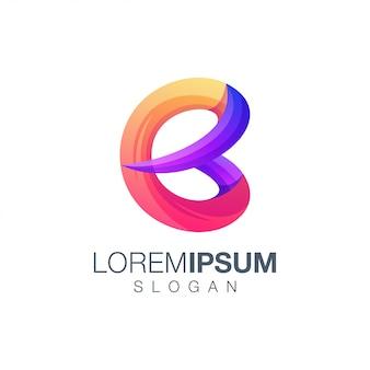Szablon logo kolor gradientu litera b.