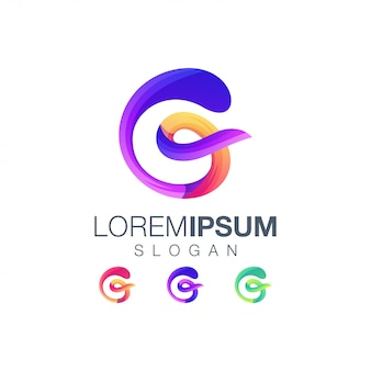 Szablon logo kolor gradientu litery g.