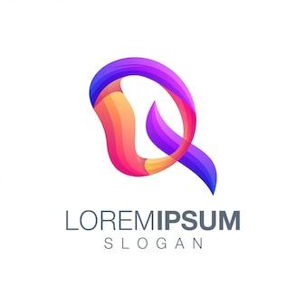 Szablon logo kolor gradientu litery q