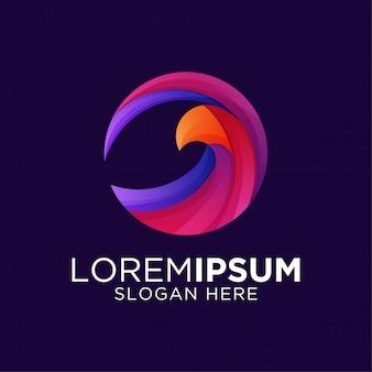 Szablon logo kolorowe gradientowe grafiki orła
