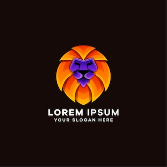 Szablon logo kolorowe gradientu lwa