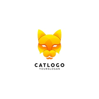 Szablon logo kolorowe ilustracji kota
