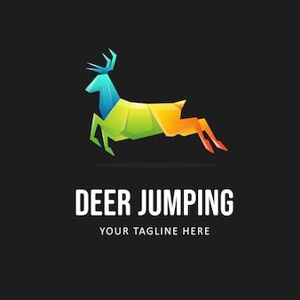 Szablon logo kolorowe jelenia. gradientowe logo zwierząt w stylu