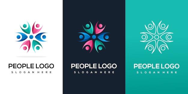 Szablon logo kolorowe ludzie