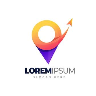 Szablon logo kolorowe podróży logo gradientu lokalizacji podróży