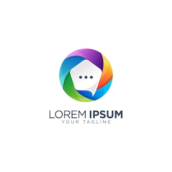 Szablon logo kolorowy bąbelek czat