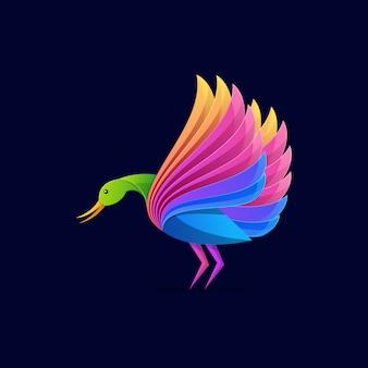 Szablon logo kolorowy bocian
