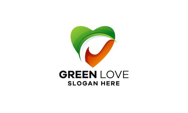 Szablon logo kolorowy gradient zielonej miłości