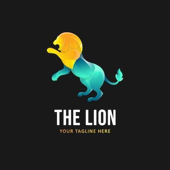 Szablon logo kolorowy lew. gradientowe logo zwierząt w stylu