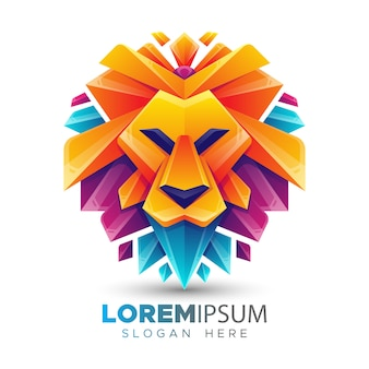 Szablon logo kolorowy lew