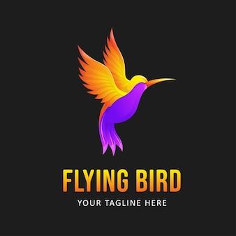 Szablon logo kolorowy ptak. gradientowe logo zwierząt w stylu