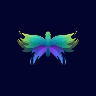 Szablon logo kolorowy streszczenie motyl