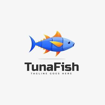 Szablon logo kolorowy styl gradientu tuńczyka rybnego